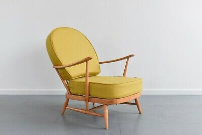 Vintage Low Ercol Windsor Back Easy Chair Model No. 203 With Green Wool Fabric • 595£