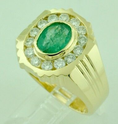 $1675 • Buy 2.67 Ct 14k Solid Yellow Gold Mens Natural Diamond Oval Emerald Ring