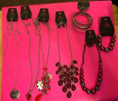 $ CDN35.36 • Buy Paparazzi Jewelry Lot Of 7 Red Assorted Pieces