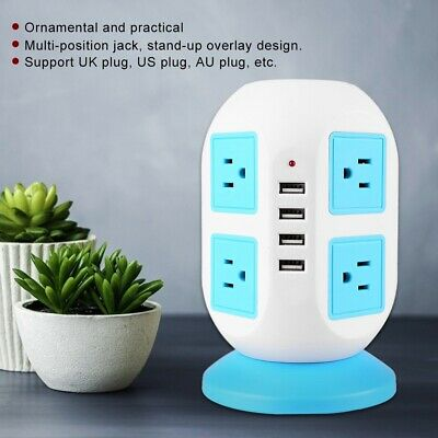 AU31.99 • Buy Vertical Power Strip 8 Way Outlet Power Strip Board With 4 USB Charging Charger