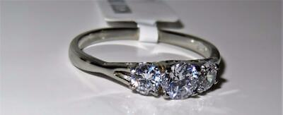 Three Stone Ring Ladies Past Present Future Stainless Steel Silver Cz New 2260  • 14.99£