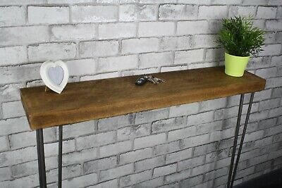 OHandmade Rustic Redwood Timber Console Table Steel Hairpin Legs Industrial Styl • 59.95£