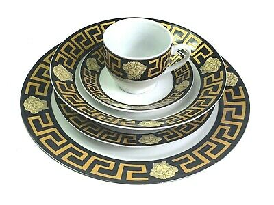 AU124.95 • Buy Dinner Set Of 20 Pieces Gold & Black Stylish Massive Clearance