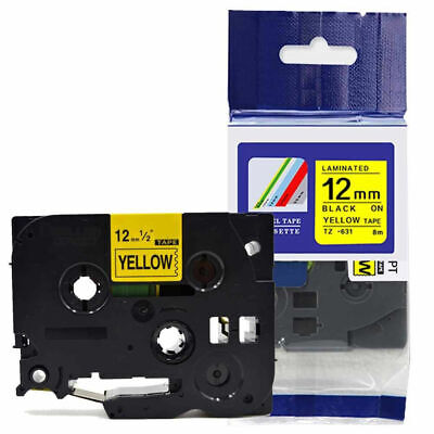 £24.93 • Buy Label Tape Fits Brother TZ-631 P-Touch Black On Yellow 12mm X 8m TZe-631 GL-H100
