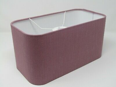 £45.50 • Buy Rounded Rectangle Fabric Lampshade Light Shade 100% Mauve Linen