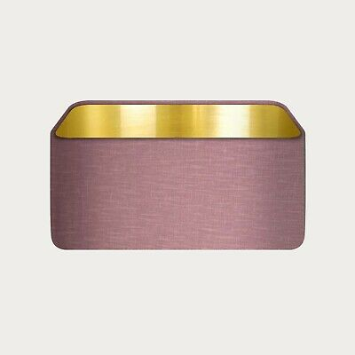£31.50 • Buy Lampshade Mauve Textured 100% Linen Brushed Gold Rounded Rectangle Light Shade