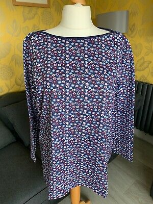 Ladies Curve Navy Cotton Ditsy Floral Printed Top 18,20, 22/24,26/28,30/32 34/36 • 5.99£