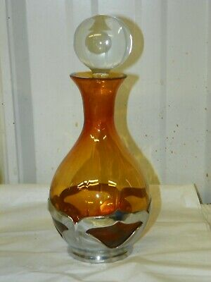 $29.95 • Buy Farber Bros Krome Kraft Wine Liquor Cocktail Amber Gold Decanter Bottle 8.5