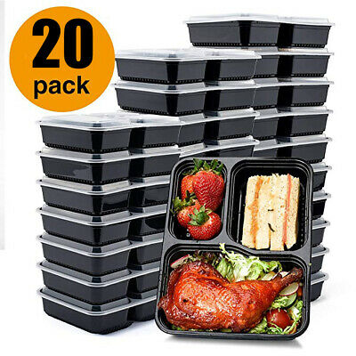 20x Plastic Quality Containers Boxes Tubs With Lids Microwave Food Safe Takeaway • 14.39£