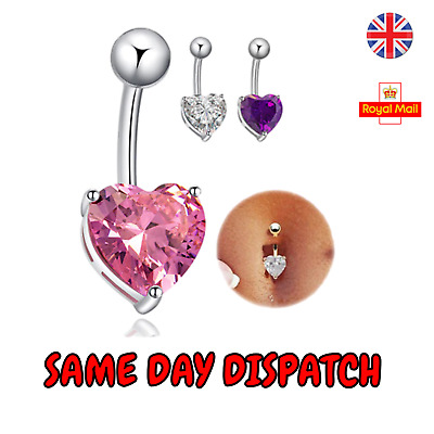 £2.39 • Buy Belly Bars Crystal Heart Button Body Piercing Jewellery Stainless Navel Ring UK