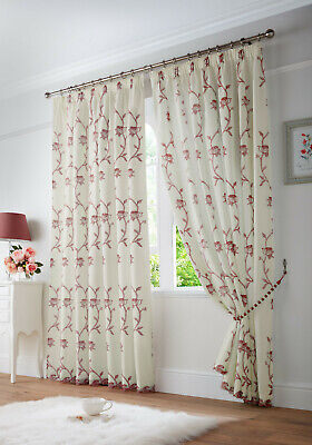 £30.99 • Buy Red Cream Floral Faux Silk Voile Net Lined Tape Top Pencil Pleat Curtains Pair