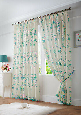 £30.99 • Buy Teal Cream Floral Faux Silk Voile Net Lined Tape Top Pencil Pleat Curtains Pair