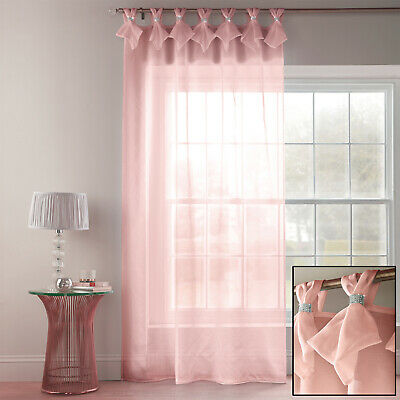 Blush Pink Diamante Voile Tiara Dolly Voile Thin Curtain Tab Top Single Panel • 15.99£