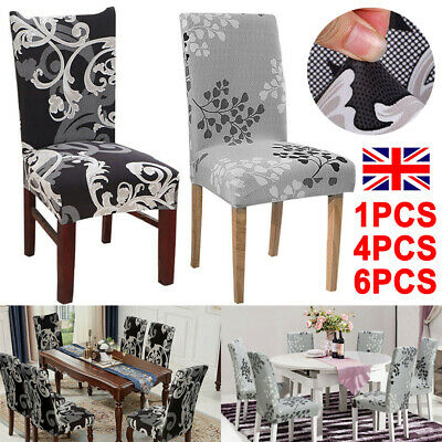 1/4/6PCS Dining Chair Seat Covers Slip Stretch Wedding Banquet Party Removable • 4.99£