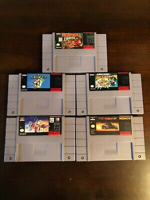 $ CDN75 • Buy Lot Of 5 SNES Games. Donkey Kong,Mario World,Mario All Stars,Star Wars,Top Gear