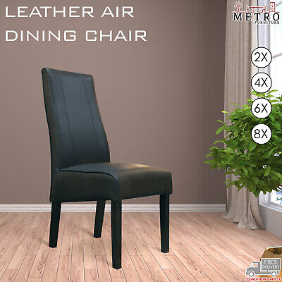 AU1374 • Buy 2, 4, 6, 8 Dark, Espresso Timber Legs Dining Chairs Black Leather Air Kitchen