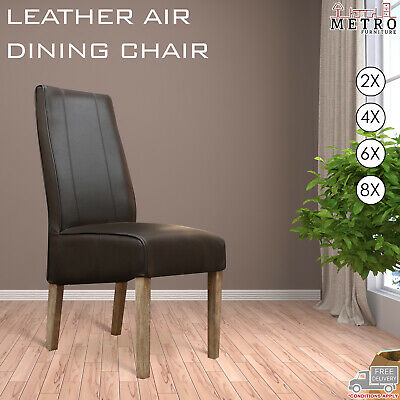 AU458 • Buy 2, 4, 6, 8 Dark, Espresso Timber Legs Dining Chairs Brown Leather Air Kitchen
