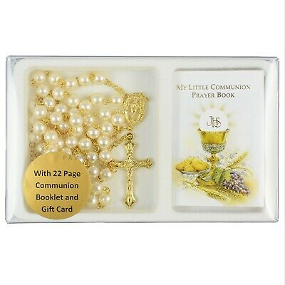 FIRST HOLY COMMUNION GIFT SET Pearl Rosary With My Little Prayer Book Christian • 7.65£