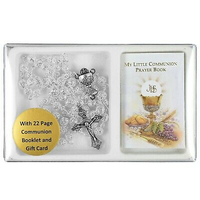 £7.75 • Buy FIRST HOLY COMMUNION GIFT SET Silver Filigree Rosary & My Little Prayer Book New