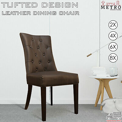 AU598 • Buy 2, 4, 6, 8 New Luxury Leather Air Brown, Black Dining Chairs, Solid Timber Legs