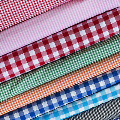 £3.49 • Buy Polycotton Fabric Gingham Check Material Dress Craft Uniform Checked 1 ,1/4 ,1/8