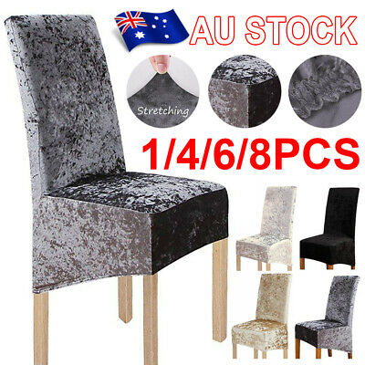 AU6.57 • Buy 1/4/6/8X Home Chair Covers Velvet Spandex Cover Stretch Washable Wedding Banquet