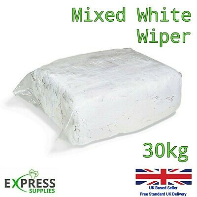 £44.99 • Buy 30kg Bag White Cotton Mix Cleaning Rags Wiping Wipers Garage Engineering Cloths