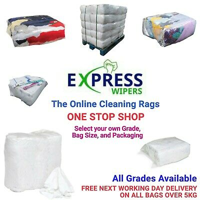 £7.99 • Buy Cleaning Rags / Wipers / Cloths - ONE STOP SHOP - Select Your Grade & Bag Size