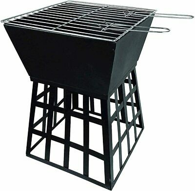 Square Fire Pit With BBQ Grill Outdoor Garden Heater Patio Decor Poker Brazier  • 39.99£