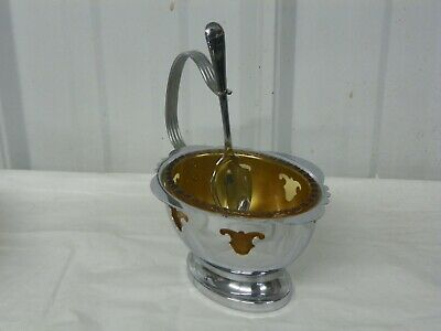 $29.95 • Buy Farber Bros Krome Kraft Amber Gold Glass Condiment Dish Chrome Basket W/ Spoon