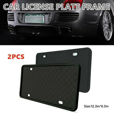 $17.21 • Buy 2PC Car Truck Black Silica Gel License Plate Frame Tag Standard Cover Protection