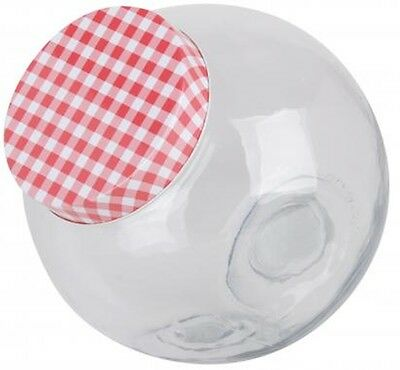 Glass Candy Storage Jar With Gingham Lid 1.4 Litres & 3.1 Litres Retro Vintage • 8.99£