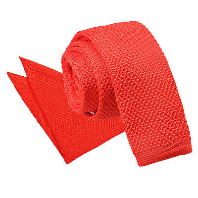 Red Mens Skinny Tie Hanky Set Knit Knitted Plain Casual Necktie By DQT • 9.99£