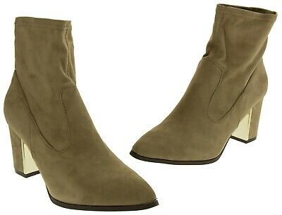 £27.95 • Buy Womens Poshh! Taupe Faux Suede Stretch Pull On Block Heel Ankle Boots UK Size 5