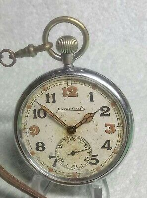 WW2 BRITISH ARMY Jeager-LeCoultre Pocket Watch & Leather Fob, Fully Serviced GWO • 200£