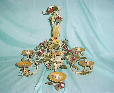 ANTIQUE TOLE CHANDELIER 6 ARM CEILING LIGHT FLOWERS CANDLE HOLDER Iron Wrought  • 84.62£