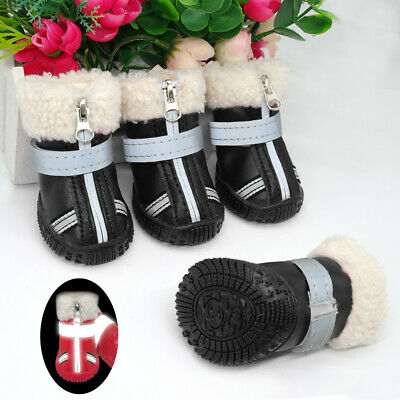Waterproof Dog Shoes Boots Winter Fleece Lining Snow Booties Reflective Non-Slip • 8.69£