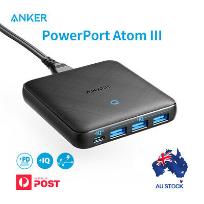 AU67.49 • Buy ANKER PowerPort Atom III Slim (Four Ports) 65W USB Charger USB C Desk Charger