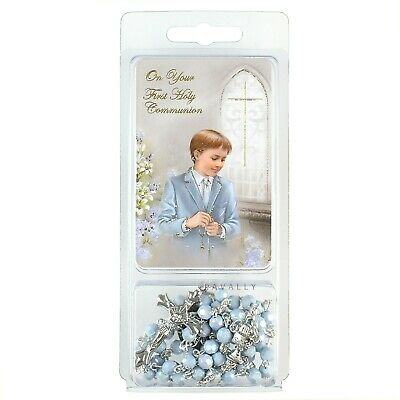 FIRST HOLY COMMUNION DAY GIFT SET BLUE ROSARY & PRAYER CARD BOY Christian New • 5.45£