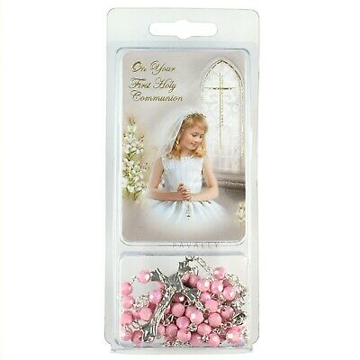 £5.45 • Buy FIRST HOLY COMMUNION DAY GIFT SET PINK ROSARY & PRAYER CARD GIRL Christian New