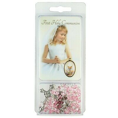FIRST HOLY COMMUNION DAY GIFT SET PINK ROSARY & PRAYER CARD GIRL Christian New • 5.75£
