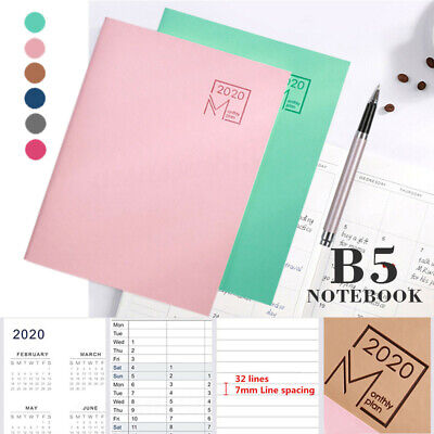 AU7.99 • Buy 2020 Weekly Monthly Journal Planner Diary School Study Work B5 Year Notebooks