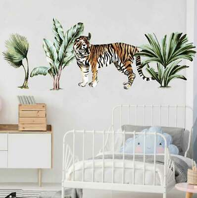 Jungle Animals Kids Art Wall Stickers Baby Room Cot Nursery Decal Decor Tiger • 15.67£