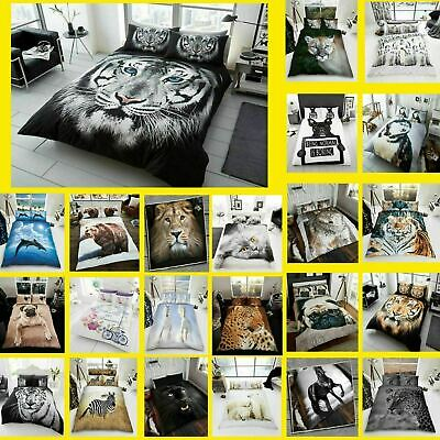 3D Duvet Cover Set Animal Bedding Quilt With Pillowcase Single Double King Sizes • 15.49£