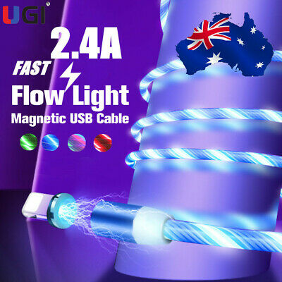 AU17.20 • Buy AU Magnetic Cable Running LED Light Micro USB Charging Cable Colorful Charger