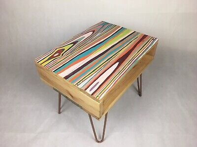 Upcycled Retro Reclaimed Side Table With Industrial Hairpin Legs • 90£