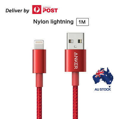 AU21.24 • Buy Anker Lightning To USB Cable Premium Nylon MFi Certified For IPhone Red Black