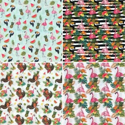 100% Cotton Fabric Tropical Flamingo Toucan Pineapple Hawaii 140cm Wide Crafty • 8.95£