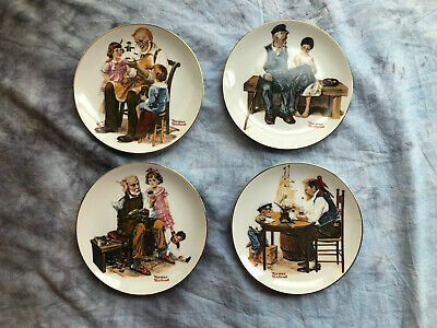 $ CDN25.09 • Buy Norman Rockwell Set Of 4 1982 Plates  Four Beloved Classics  Series  FREE SHIP