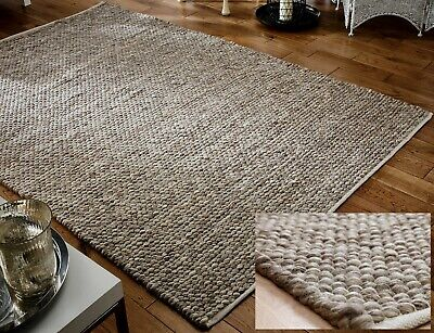 £137.55 • Buy Small - Large Thick Beige Mink Taupe Pebbles 100% Wool 3d Savannah Rug Clearance